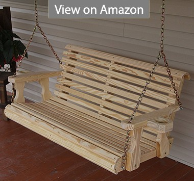 4-Feet Amish Heavy Duty Roll Back Treated Porch Swing With Cupholders