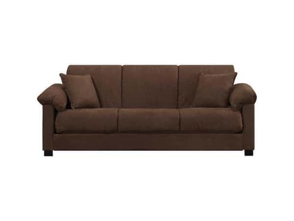 Montero Microfiber Convert A Couch Sofa Bed Dark Brown