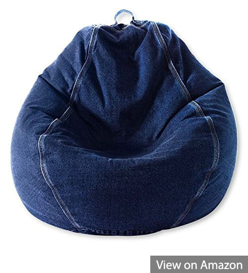 Adult Pear Bean Bag Chair, Denim Indigo