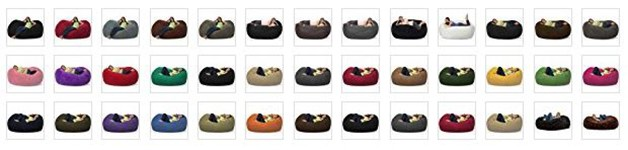 Comfy Sacks 6 ft Lounger Memory Foam Bean Bag Chair colors
