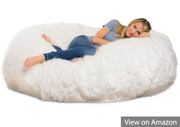 Comfy Sacks 6 Foot Lounger Memory Foam Bean Bag Chair, White Furry