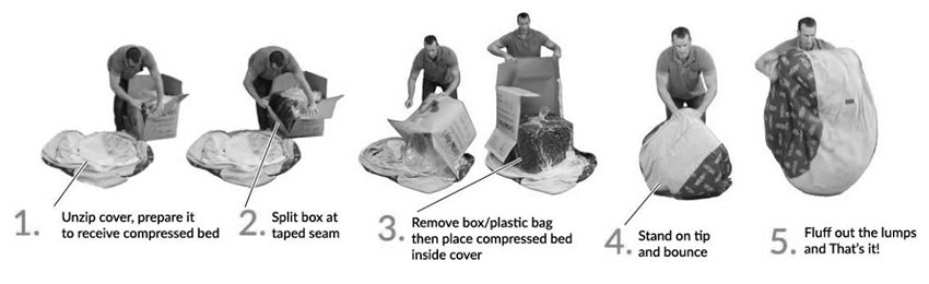 Cordaroy beanbag bed assembly