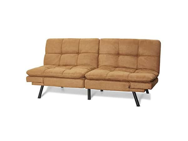 Mainstay Wooden Frame Memory Foam Futon Sofa Lounger Camel