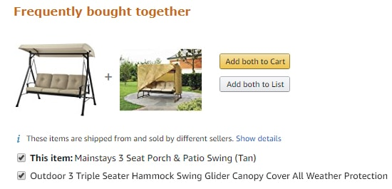 Mainstays 3 Seat Porch and Patio Swing with Cover
