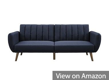 Novogratz Brittany Sofa Futon, Premium Blue Linen Upholstery and Wooden Legs