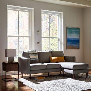 Rivet Revolve Modern Reversible Chaise Sectional grey front