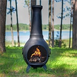 Prairie Style Cast Iron Wood Burning Chiminea in Charcoal