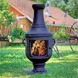 Venetian Style Cast Iron Wood Burning Chiminea in Charcoal