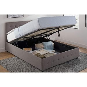 DHP Cambridge Upholstered Linen Platform Bed with Storage