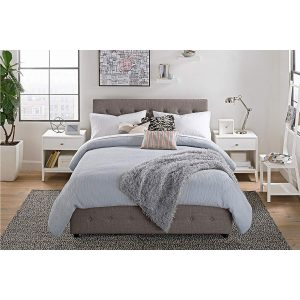 DHP Cambridge Upholstered Linen Platform Bed Storage front
