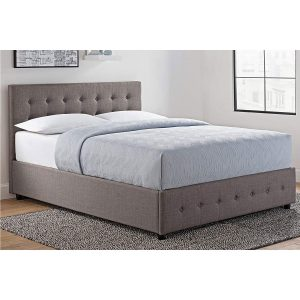 DHP Cambridge Upholstered Linen Platform Bed Storage left