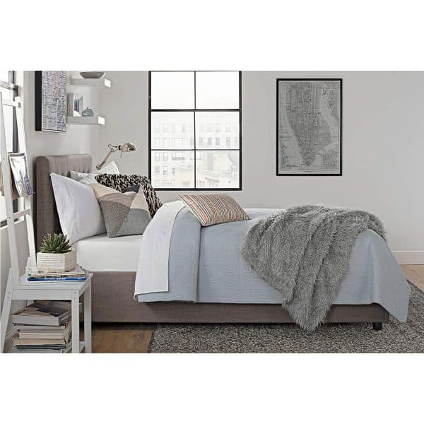 DHP Cambridge Upholstered Linen Platform Bed Storage side