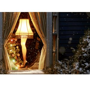 A Christmas Story House Full Size Leg Lamp window