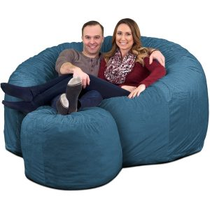 Ultimate Sack 6000 Giant Bean Bag Chair with Footstool