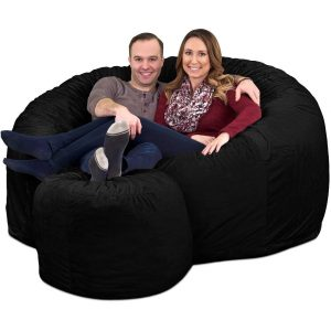 Ultimate Sack 6000 Giant Bean Bag Chair with Footstool black