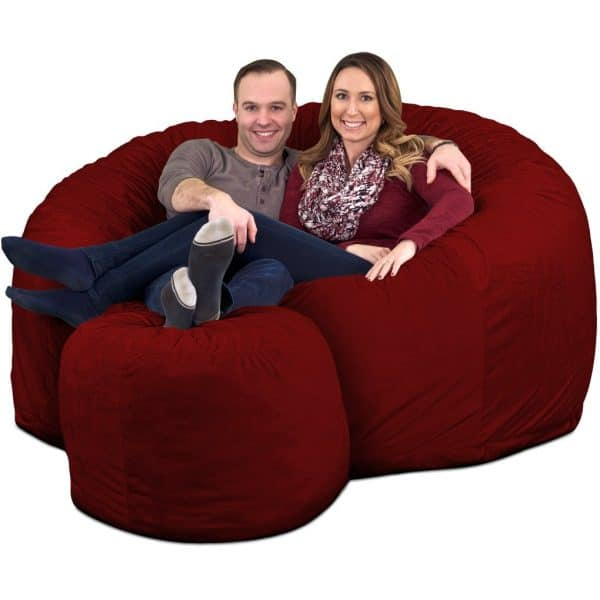 Ultimate Sack 6000 Giant Bean Bag Chair with Footstool burgundy