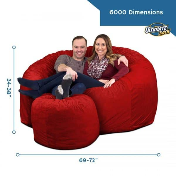 Ultimate Sack 6000 Giant Bean Bag Chair with Footstool dimensions