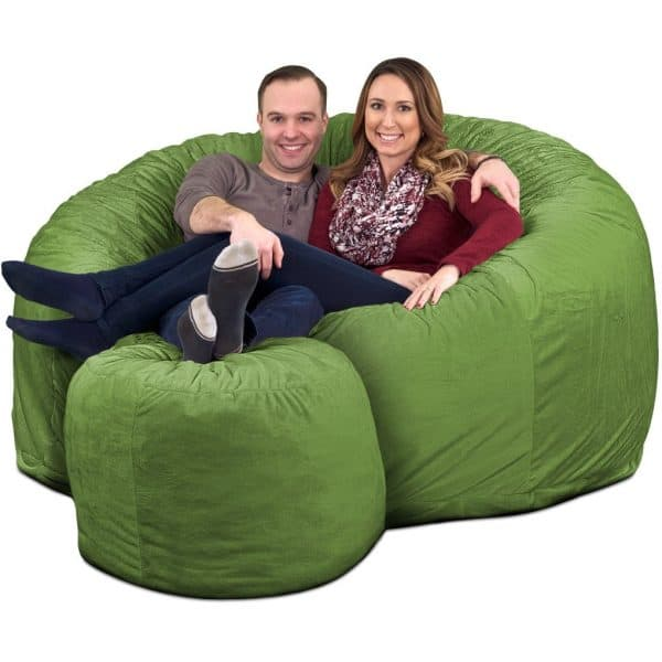 Ultimate Sack 6000 Giant Bean Bag Chair with Footstool lime