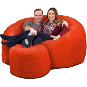 Ultimate Sack 6000 Giant Bean Bag Chair with Footstool orange
