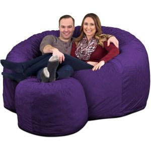 Ultimate Sack 6000 Giant Bean Bag Chair with Footstool purple