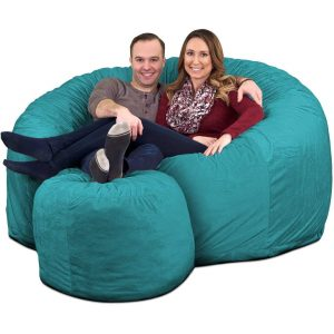 Ultimate Sack 6000 Giant Bean Bag Chair with Footstool teal