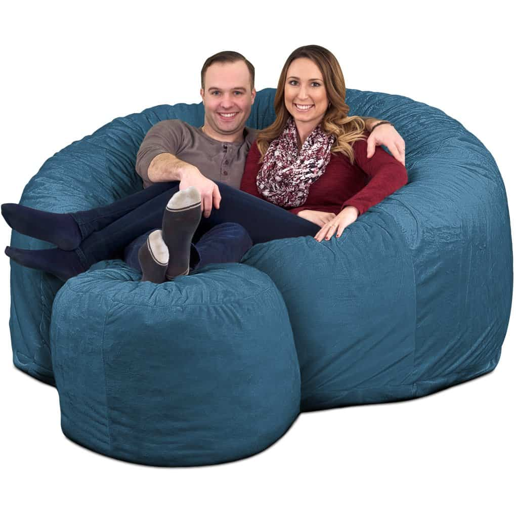 Strange Ultimate Sack 6000 Giant Bean Bag Chair With Footstool Onthecornerstone Fun Painted Chair Ideas Images Onthecornerstoneorg
