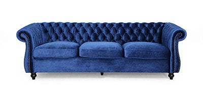 Vita Chesterfield Tufted Velvet Sofa with Scroll Arms, Navy Blue