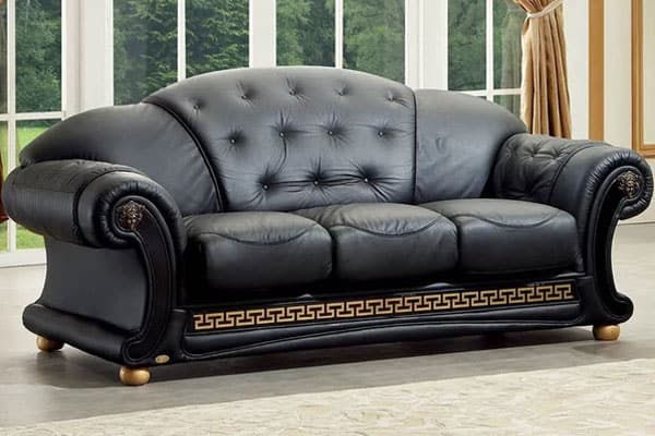 Alexzander Leather Camelback Sofa