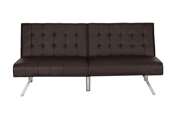 Faux Leather Tufted Convertible Click Clack Sofa Bed