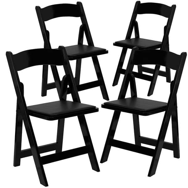 HERCULES Series Black Wood Folding Chair