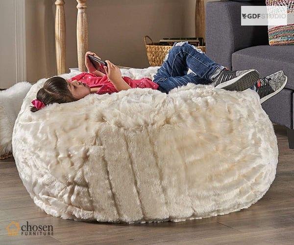 Laraine Furry Glam Faux Fur Fluffy Bean Bags Chair