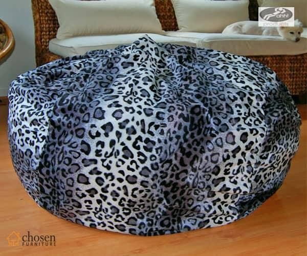 Snow Leopard Animal Print Fur Fluffy Bean Bags Chair