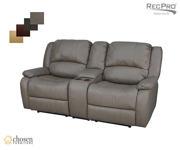 "RecPro Charles 67"" Double RV Wall Hugger Recliner Sofa with Console"