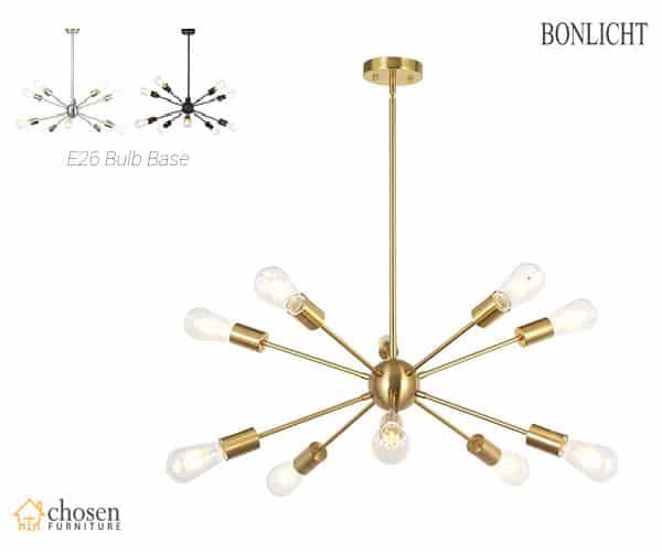 BONLICHT Sputnik Chandelier 10 Light Brushed Brass