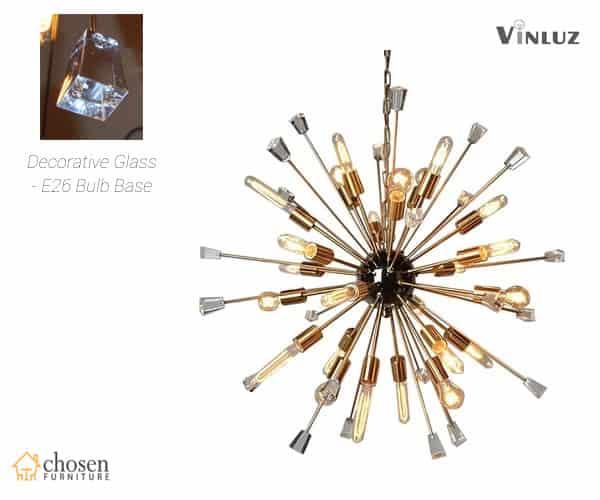 Kuehl 24 Light Sputnik Chandelier with Bulbs and Decorative Glass Objects