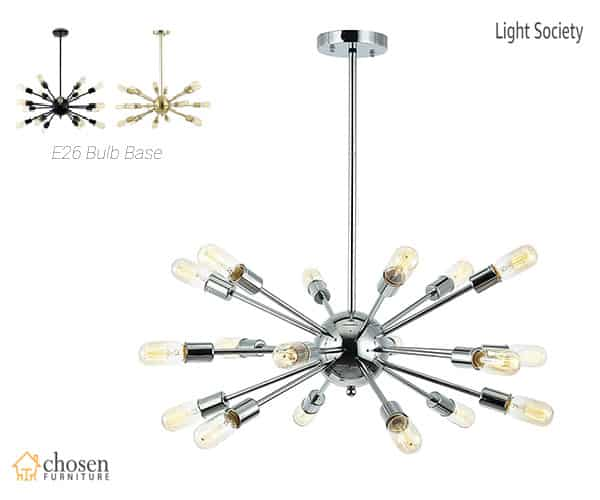 Light Society Sputnik Chandelier Pendant Industrial Starburst Style