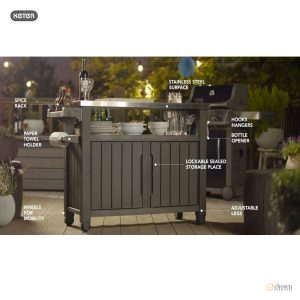 Keter Unity XL Outdoor BBQ Prep Station features