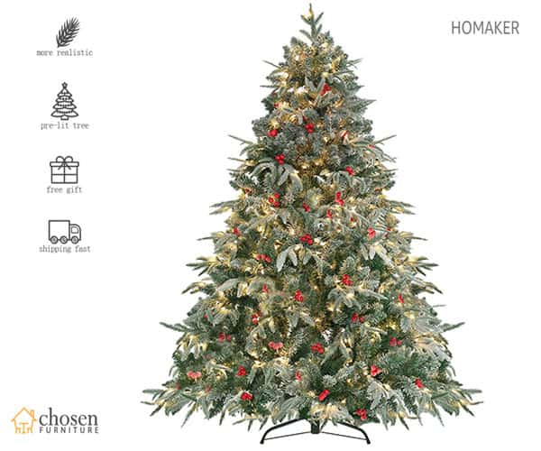 HOMAKER Handmade Flocked Christmas Tree Prelit