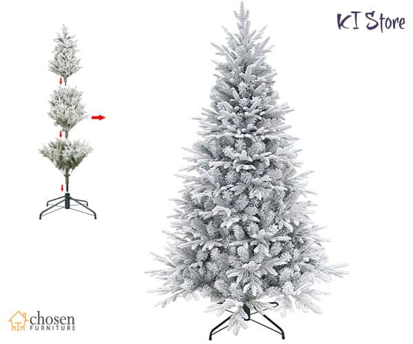 KI Store Artificial Snow Flocked Christmas Tree 7.5ft Unlit