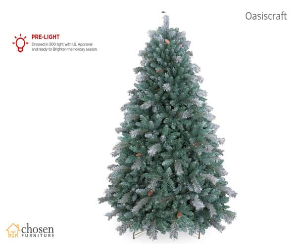 OasisCraft Aspen Spruce Flocked Christmas Tree Prelight