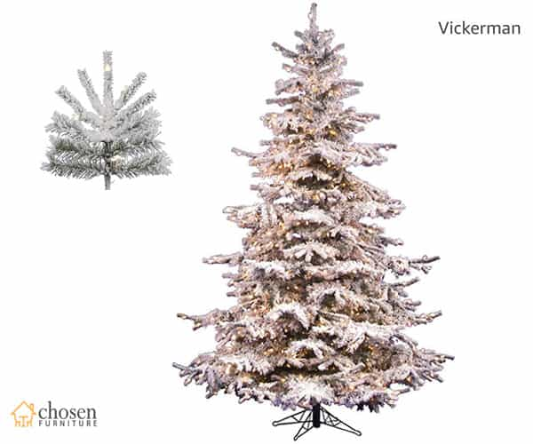 Vickerman Sierra Flocked Christmas Tree 7.5ft Prelit