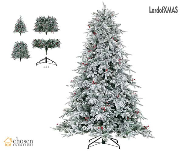 LordofXMAS Pine Flocked Christmas Tree 9 Ft Prelit