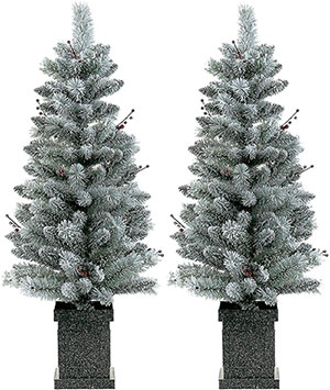 LordofXMAS Potted Flocked Christmas Tree 4 Ft