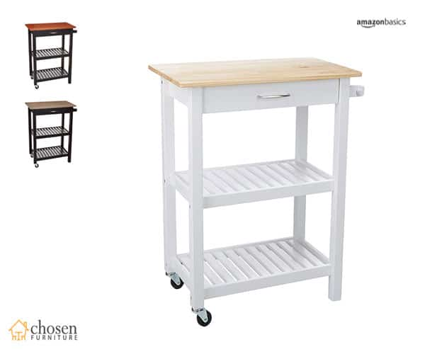 AmazonBasics Multifunction Rolling Kitchen Island Cart with Open Shelves