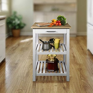 Casual Home Sunrise Solid Maple Top Kitchen Island details