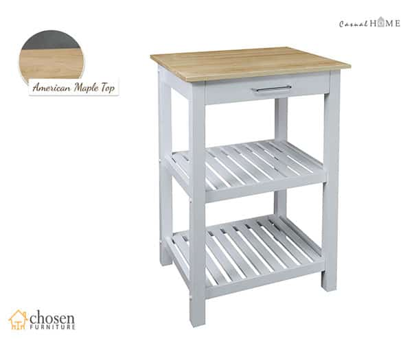 Casual Home Sunrise Solid Maple Top Kitchen Island