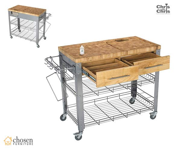 Chris Rolling Kitchen Islands with Butcher Block