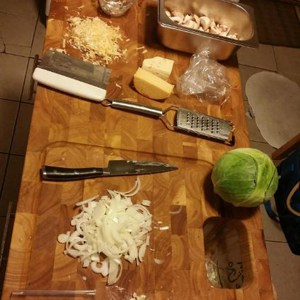 Chris Rolling Kitchen Islands with Butcher Block details