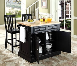 Crosley Furniture 3 Piece Kitchen Island with Butcher Block Top details