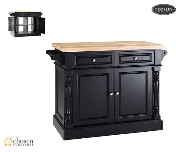 Crosley Furniture Kitchen Island with Butcher Block Top